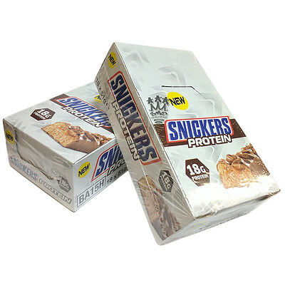 Snickers Protein Bars Full Box - 18 High Protein Bar Snacks 19g Protein In Each