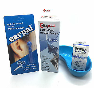 Earex Wax Removal Drops, LugGuards 60ml Ear Syringe + Catch Basin & Earpal
