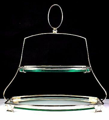 Art Deco Silver Plate Two Tier Glass Cake Stand Davies & Powers C.1930'S