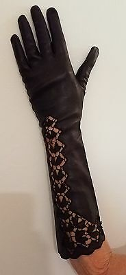 2 Pair Black Leather Gloves  Sz 6.5 and 7 CUTWORK Hand EMBROIDERY Made in Italy