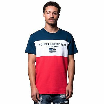 Young and Reckless Men's Authorized Tee- Navy Blue/Red