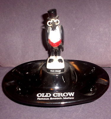 Vintage Old Crow Advertising Bourbon Whiskey  Ashtray with Penquin