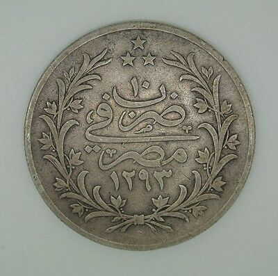 Egypt 20 Qirsh Silver Coin1884 Ah1293/10