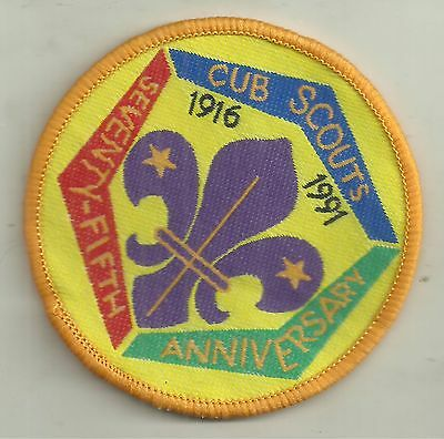 CUB SCOUTS 75th ANNIVERSARY 1916 - 1991 PATCH BOY SCOUTS