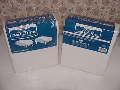 "4 - Daily Chef Tablecloths White 54"" x 120"" Stain Resistant Cotton Polyester NEW"