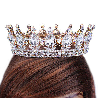 2'' Prom King Queen Gold Diamante Clear Crystal Tiara Crown Full Bridal Headband