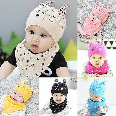2pcs Newborn Kid Baby Cartoon Hat+Saliva Towel Infant Boy Girl Cute Outfits Gift