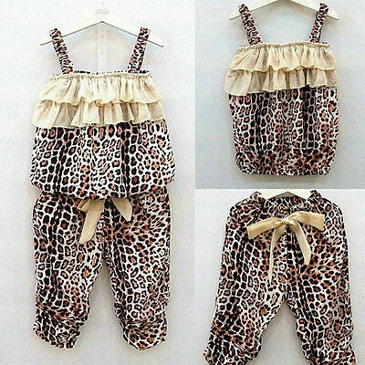 2Pcs/Set Baby Girl Kid Casual Leopard Vest+Long Pants Clothes Suit Outfit Jumper