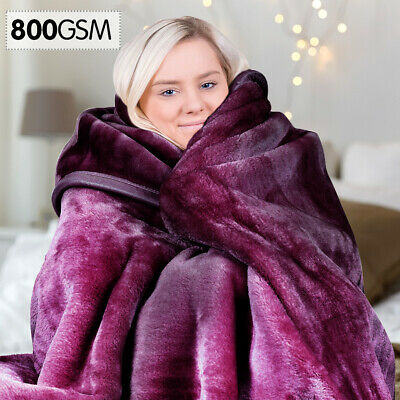 220 x 240cm Mink Blanket Double Sided Queen Soft Plush Bed Faux Throw Rug Purple