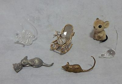 Lot of 6 Assorted Miniature Mice Figurines Glass, Metal and Flocked