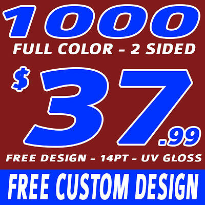 1000 Custom Full Color Business Cards + Free  Professional Design Free Shipping