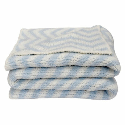 The Living Textiles - Chevron Knitted Blanket - Grey