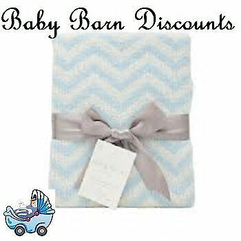 The Living Textiles - Chevron Knitted Blanket - Sky Blue