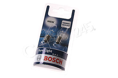 H6W Halogen Bulbs 2pcs 12V 6W BAX9s BOSCH PURE LIGHT 1987301035