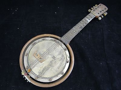 Ancien Banjo 8 Cordes A Decor De Couple Des Annees Folles (B865)