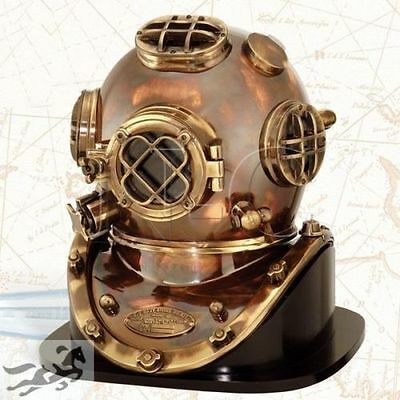 New Antique Heavy Model Mark V Solid Copper Brass Divers Diving Helmet With Base