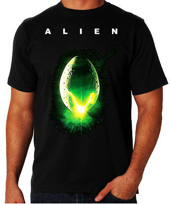 Alien Movie Poster Art Scary Sci-Fi Ripley Aliens ET Species Geek Black T-Shirt