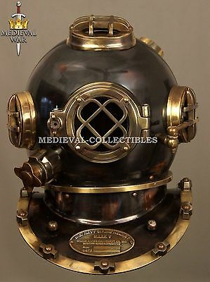 Antique U.S Navy Diving Divers Helmet Solid Steel Full Size 18 Inch DH-02