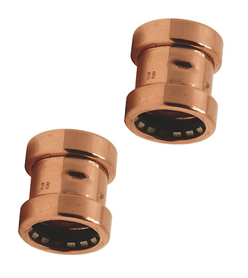2 X Sprint Push Fit Pipe Coupler 15mm Copper high performance 114°C at 10b New