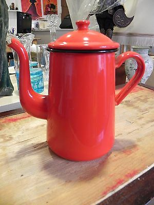 cafetiere emaille, verseuse pichet email rouge orangé
