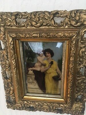 Beautiful Victorian Christodian Painted On Glass Picture