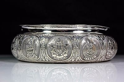 Vintage Malaysian Silver Flower Posy Ring Armorials  Cities Cartouches
