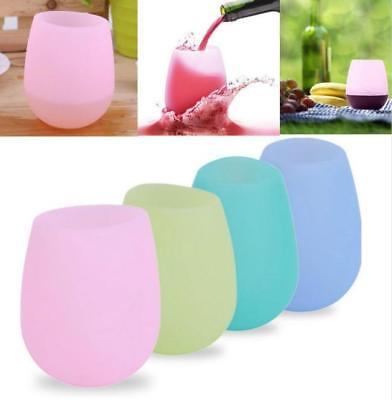 Silicone Wine Glass Unbreakable Stemless Drinking Beer Mug Outdoor Cup Glass FW