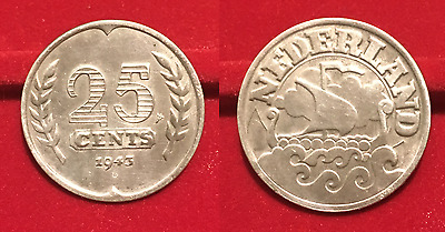 25 Cents 1943 Pays Bas Netherland German Occupation M340
