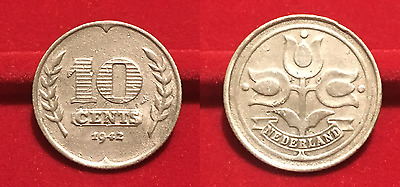 10 Cents 1942 Pays Bas Netherland German Occupation M341