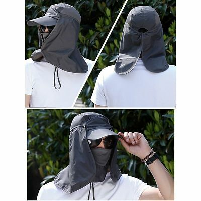 Hiking Fishing Hat Outdoor Anti Sun Wind Neck Face Protection Flap Cap Wide Brim