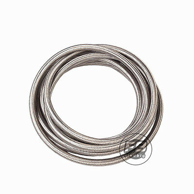 6 AN Stainless Steel Braided Fuel / Oil Line Hose AN6 Silver 10 Feet