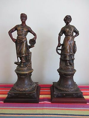 1900 Pair of French Spelter Statues signed A.Rucho