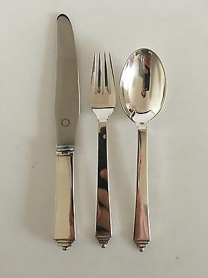 Georg Jensen Sterling Silver Pyramid Flatware Set for 6 People. with Vintage GJ