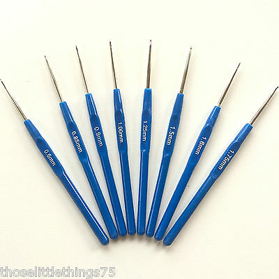 Crochet hooks needles 8pcs set 0.6mm - 1.75mm.  Fine hook yarn Knitting small