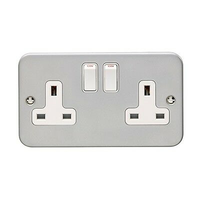 5 x Metal Clad Double 2 Gang Twin Electrical Switched Socket 13amp