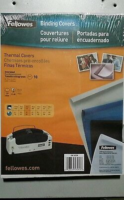 """Fellowes Thermal Binding Presentation Covers Letter 1/4"""""""" 60 Sheets 10 Pack Bla"""