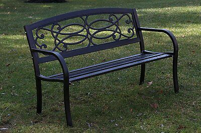 Rustic Outdoor Patio Garden Bench Seat Cast Iron Furniture Black NEW