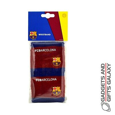 OFFICIAL BARCELONA FOOTBALL CLUB 2 PACK WRISTBANDS SOCCER EXERCISE Sporting acc