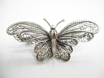 Vintage Antique 800 Silver Ornate Openwork Butterfly Brooch Pin #2989