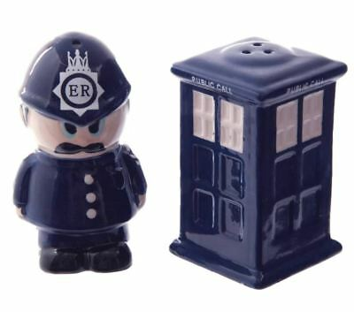 Collectable Novelty Salt and Pepper Set DR WHO POLICE BOX OFFICER Kitchen FRE...