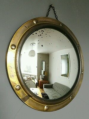 Large Vintage Brass Porthole Convex Foxed Wall Mirror