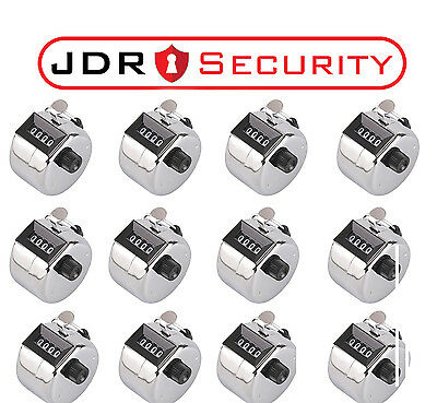 12 x High Quality Hand Held Clickers Chrome Tally Number People Counter