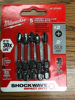 "5pk #2 Phillips Shockwave 2"" Power Bits Milwaukee 48-32-4602 New"