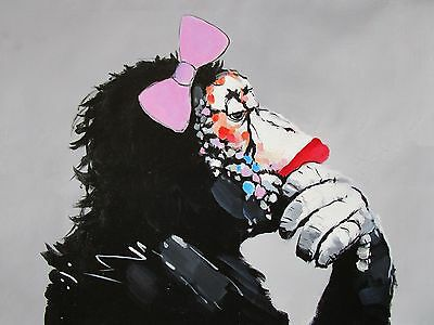 Huge Art Painting Dj Chimp Monkey thinker girl  street urban  Authentic  By Pepe