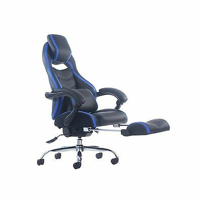 Merax Racing Style Executive PU Leather Swivel Chair with Footrest and Back S...