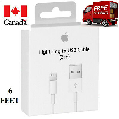 6Feet/2M Original Apple Lightning USB Charger Cable For Iphone 7 6 6S 5S