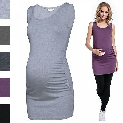 Happy Mama. Women's Maternity Vest Top Tee Tunic Round Neck Sleeveless. 041p