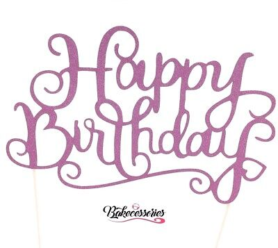 Pink Happy Birthday Cake Topper - Party HB Glitter Decor Accessories Sparkle