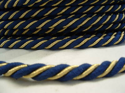10 m Dekorations-Kordel 11 mm stark, GOLD m.navy: Made in Germany