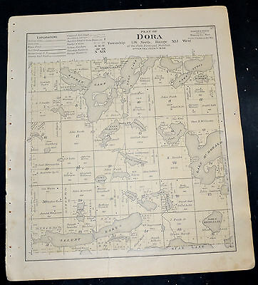 1884 OTTER TAIL COUNTY MAP MINNESOTA Candor and Dora Townships